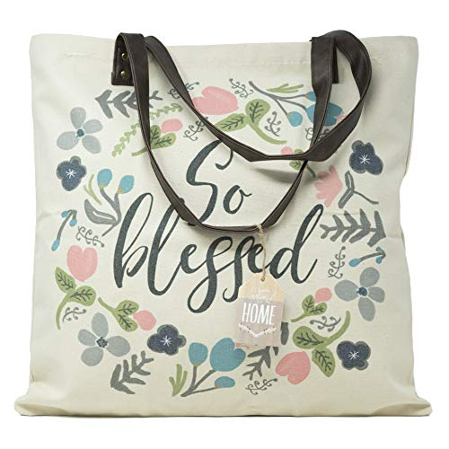 ReLIVE Decorative Expressions - 18x18 Canvas Reusable Tote Bag - Floral - So Blessed