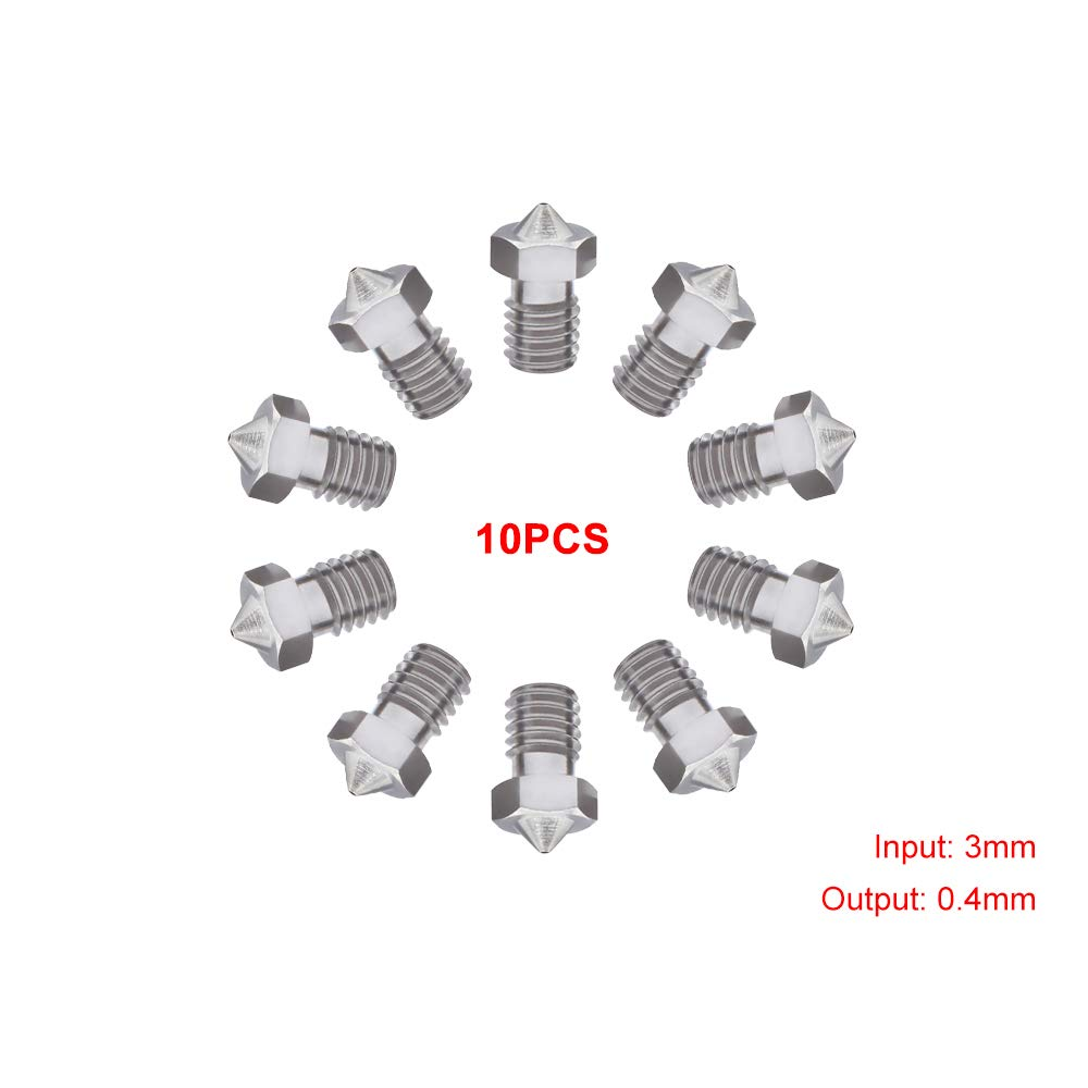 Mech Solutions Ltd 10 Pieces MK10 Extruder 3D Printer Nozzle (5 Different Size 0.2mm, 0.3mm, 0.4mm, 0.6mm, 0.8mm) for 3D Printer (FlashForge, Wanhao, Powerspec,etc) MK10-6 size