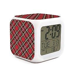 BIAOSD Cute Digital Alarm Clocks Art Lattice LED Night Glowing Cube LCD Clock Bedroom Bedside Clocks Wake Up Clocks for Unisex Adults Kids Birthday Present