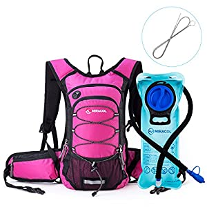 MIRACOL Insulated Hydration Backpack Pack with 2L BPA Free water bladder and Long Tube Brush, Prefect Outdoor Gear for Hiking, Running, Camping, Cycling, Fits men, women, kids, children, Rose