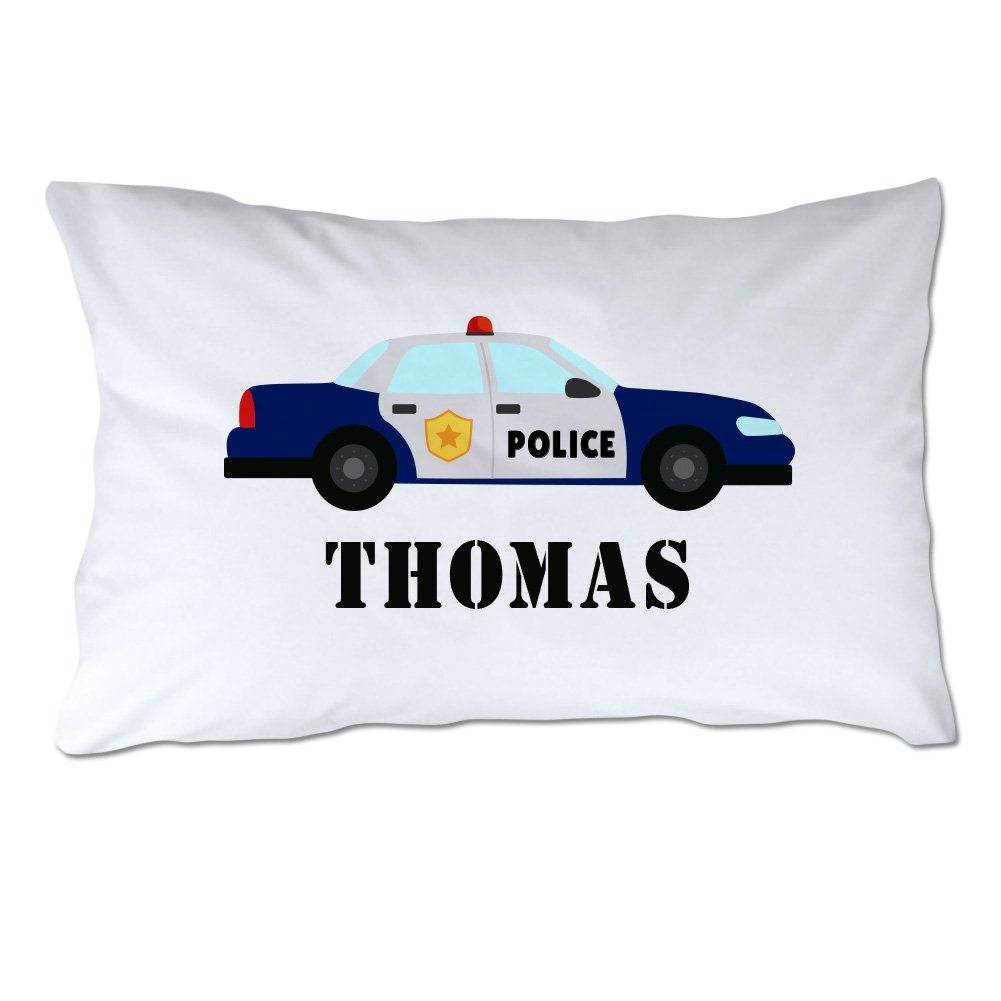 Pattern Pop Personalized Toddler Size Police Car Pillowcase with Pillow Included by Pattern Pop