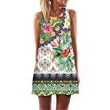 TnaIolral Vintage Boho Women Summer Sleeveless Beach Printed Short Mini Dress Green