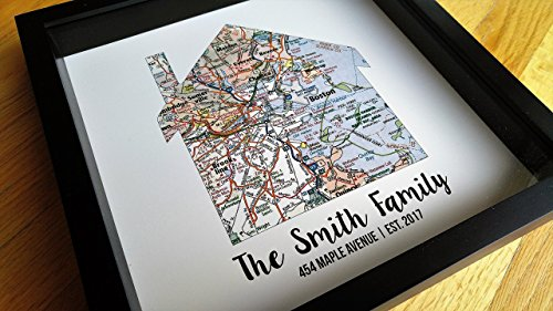 New Home Gift Housewarming Gift Map Art Gift Family Established Sign Last Name Art Family Art Framed Art Gift for New Home Realtor Gift