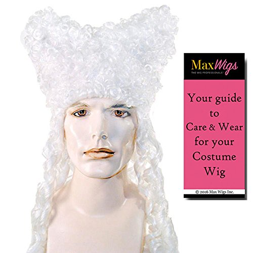 (Colonial Party Gentleman Color White - Lacey Wigs Flamboyant Host Theater18th Century French Revolution 17th Bundle With MaxWigs Costume Wig Care)