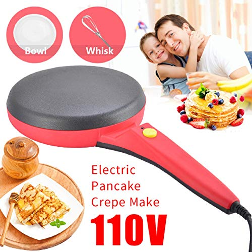 Electric Crepe Maker,Portable Crepe Maker Electric Griddle Non-stick Crepe Pan, Automatic Temperature Control for Crepes, Blintzes, Pancakes, Bacon, Tortilla,Free Gift Batter Pot & Egg Beater red