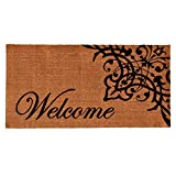 Home & More 121353672 Scroll Welcome Doormat, 36'' x 72'' x 0.60'', Natural/Black