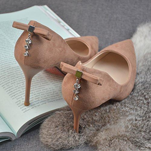 Olici MDRW-Lady Elegant Arbeit Freizeit Feder Scharfe Kopf Fein Heel Heel Heel 8 cm Heels Pumps Rosa Schleife Flachen Einzelne Schuhe Brautjungfer Schuhe 160242