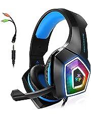 ARKARTECH Audífonos Gamer con Micrófono para PS4 Xbox One PC Switch, Auriculares Alámbrico y 7 Luz LED Control de Volumen, Gaming Headset con 3.5mm Conector para Juegos, Tableta, Celulares