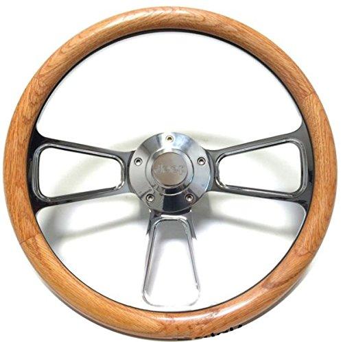 Jeep Wrangler, CJ, Cherokee Oak & Chrome Steering Wheel & Adapter Jeep (Jeep Cherokee Steering Column)