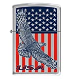 Zippo Lighter - USA Flag Eagle Classic Polished Chrome