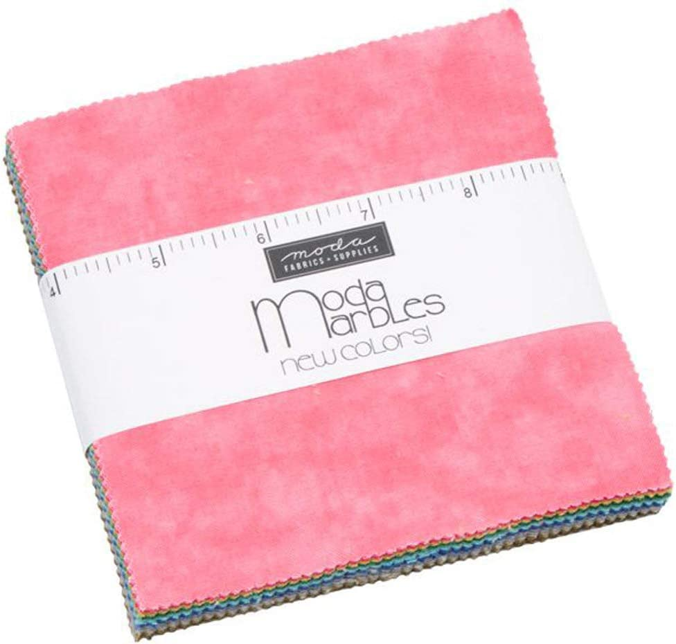 Marbles 2019 New Colors Charm Pack by Moda; 42-5 Inch Precut Fabric Quilt Squares