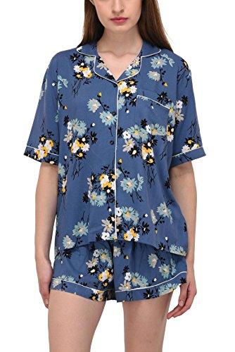 VDRNY Women's Sleepwear 2 Pc Short Sleeve Pajama Notch Collar Shorts Set/Pajama (Blue Floral, S)