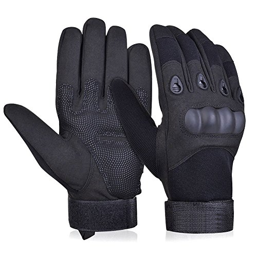 Adiew Military Full Finger Tactical Airsoft Hunting Riding Cycling Gloves Bike Bicycle Motorcycle Shockproof Outdoor Sports Short Gloves (Black,Large)