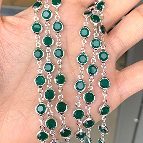 20 inch Beautiful Sterling Silver Plated Brass Chain with Emerald Crystal Rhinestone for Earrings Bracelet Necklace Charm Jewelry Making Findings115-24