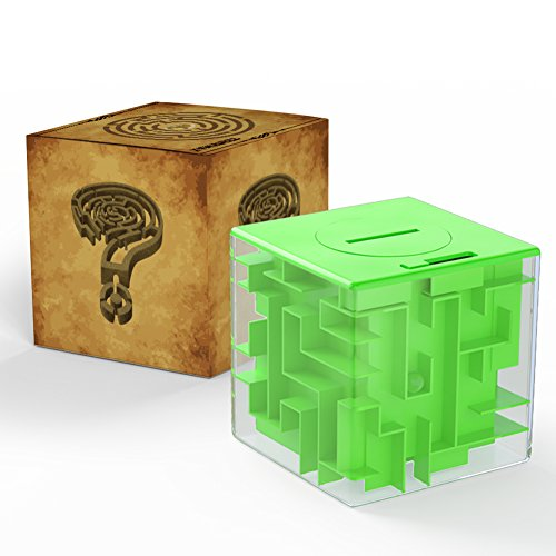 Acekid Money Maze Bank 3D Puzzle Coin Box Game Saving Maze For Kids Toys Cube Gifts (Green)