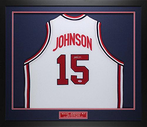 Magic Johnson Autographed & Framed White Team USA Jersey PSA COA D1-M (Free Shipping!!)