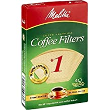 Melitta 620122 Size 1 Natural Brown Coffee Filters, 40 Count