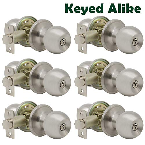 (Satin Nickel Entry Door Knob Combo Pack, 6 Pack Keyed Alike Entrance Door Lock Hardware, Ball Knob Lockset for Interiro and Exterior)