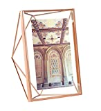 Umbra Prisma 5 x 7 Picture Frame  Floating Wall or Desk Photo Display for Pictures, Art, Illustrations, Graphic Text & More, Metal, Copper