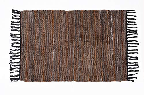 (Hand Woven and Hand Stiched Leather Multi Rug, Made of Genuine Leather Strips, Fringe Trim, Durable, Stain resistant, Eco Friendly- Tan grey 24x36)