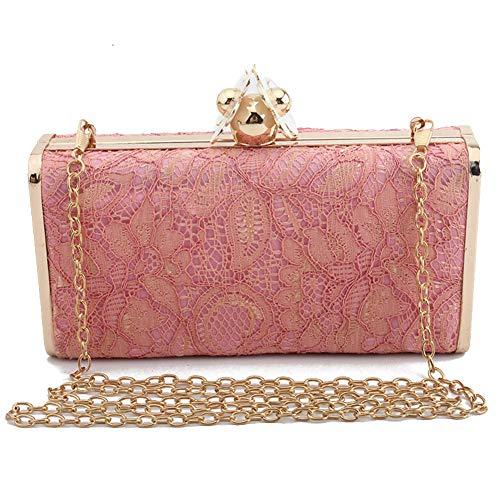 Señoras Noche Nupcial Bolso Mujeres Elegante Bolsos De Pink Bolsa Monedero Boda Bandolera Regalo Embrague Pequeño Cjwloy Hombro Prom Las red Cuadrado Encaje xOqwZZg4