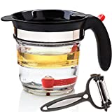 ONE DAY SALE!- Best 4 Cups Gravy Separator and Fat Separator (32 Ounce) Makes Healthier Gravy, Soup Or Sauce Grease-Free, 1 Liter Measuring Capacity Cup and Strainer Filter, Heat Resistance By Vondior