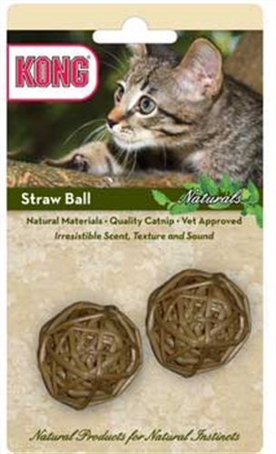 KONG Naturals Straw Ball Catnip Toy, Colors Vary, 2-Pack, My Pet Supplies