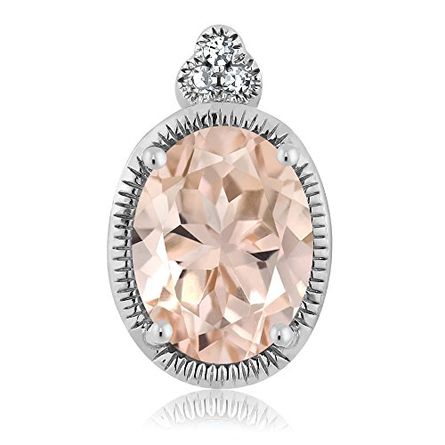 Gem Stone King 10K White Gold 0.65 Ct Oval Peach Morganite Diamond Pendant With Chain