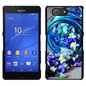 A-type Arte & diseño plástico duro Fundas Cover Cubre Hard Case Cover para Sony Xperia Z3 Compact / Z3 Mini (Not Z3) (Blue Spring Blooming Nature Purple)