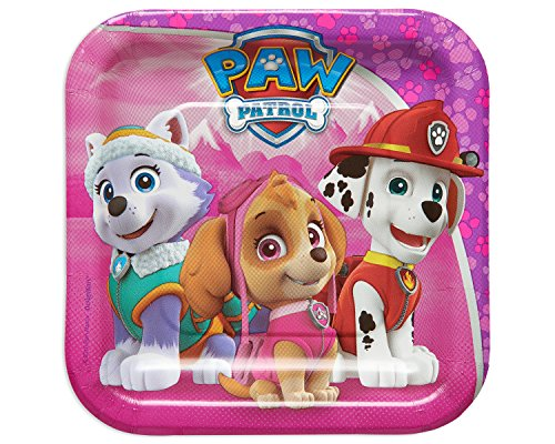American Greetings PAW Patrol Pink Square Plate (8 Count), 7