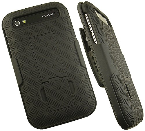 (NAKEDCELLPHONE'S BLACK RUBBERIZED KICKSTAND HARD CASE COVER + BELT CLIP HOLSTER FOR BLACKBERRY CLASSIC Q20 PHONE (Verizon, AT&T, T-Mobile, Unlocked) (SQC100-1, SQC100-2, SQC100-3, SQC100-4, SQC100-5))