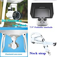 XSD MODEL Neck strap+Camera Lens Sun Hood Cover Cap+Lens Cap Camera Cover Protective Case+Remote Controller 7.9 Inch iPad mini Sunshade Sun Hood for DJI Phantom 4