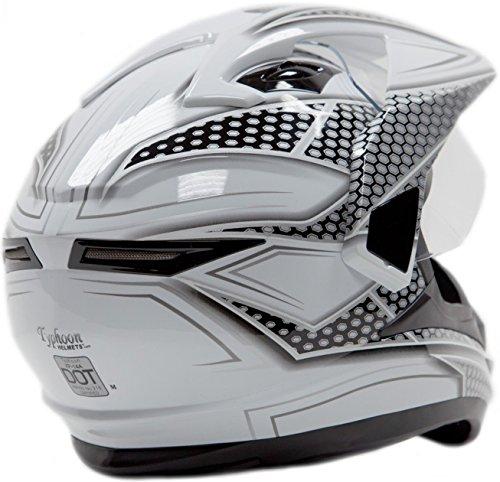 Dual Sport Helmet Combo w/Gloves - Off Road Motocross UTV ATV Motorcycle Enduro - Silver, Black - XXL by Typhoon Helmets (Image #3)