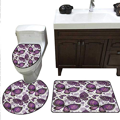 Anshesix Natural Bath mat Set with Toilet Cover Ethnic Asian Butterflies with Paisley Motif on Wings Flowers Art Print Toilet Rug and mat Set Plum Purple Lilac White (Rug Butterfly Paisley)