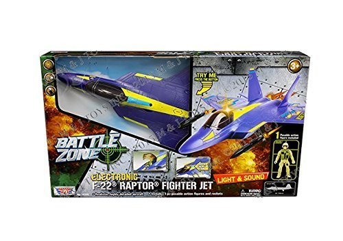 Motor Max Battle Zone Electronic F-22 Raptor Fighter Jet with One Poseable Figure Diecast Aircraft