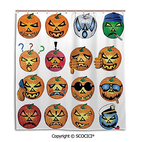 SCOCICI Simple Bathroom Curtain Personality Privacy Convenience,66X72in,Halloween Decorations,Carved Pumpkin with Emoji Faces Halloween Humor Hipster Monsters Art,Orange,Used for Bathing Privacy]()