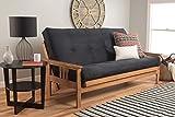 Eldorado Futon Brown Finish Frame w/ Coil 8 Inch Mattress Full Size Sofa Bed (Black Matt w/Frame)