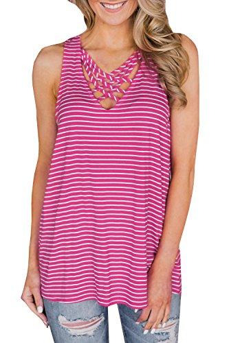 (Womens Criss Cross Tank Tops Summer V Neck Striped Racerback Sexy Flowy T-Shirts Pink)