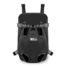 Amzdeal Pet Front Carrier Dog Travel Carrier Bag Backpack Legs Out Dog Carrier (Black,Small)
