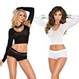 Womens Sexy Long Sleeve Opaque Cami Crop Top Booty Shorts Lingerie Hosiery Set- 2 Pack