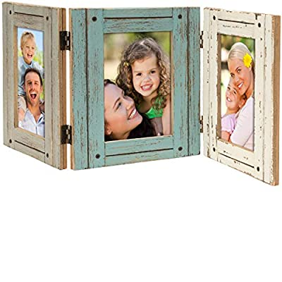 Excello Global Products Hand Painted Rustic Three Picture Frame: Holds Three 4x6 Photos - EGP-HD-0023 - SHABBY CHIC DESIGN: This Rustic Barn Wood Three Picture Frame has three vibrant colors and is perfect for a home with Farmhouse or Beach House decor. TEXTURED, DISTRESSED wooden three picture frame Holds three 4x6 Photos EASY TO DISPLAY: Decorative Hinged Table Desk Top Picture Photo Frame will display easily on your tabletop, counter, desk or shelf. - picture-frames, bedroom-decor, bedroom - 51hHHxOnmCL. SS400  -