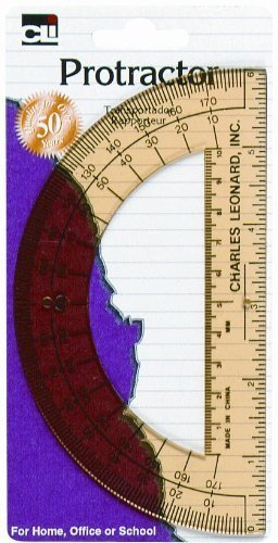 3 PCK Charles Leonard Protractor, 6'' Open Center, Assorted Colors 1/Card (80600)