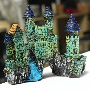 acuario artesanías de resina castillo simulación decoración pecera