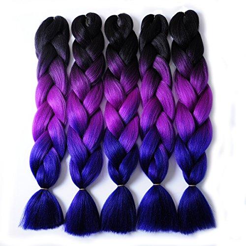 MSBELLE 5PCS Synthetic Braiding Hair, Kanekalon Braiding Hair Extensions Ombre Jumbo Twist Braids Hair for Black Women 24 Inch(Black-Purple Red-Blue) ()