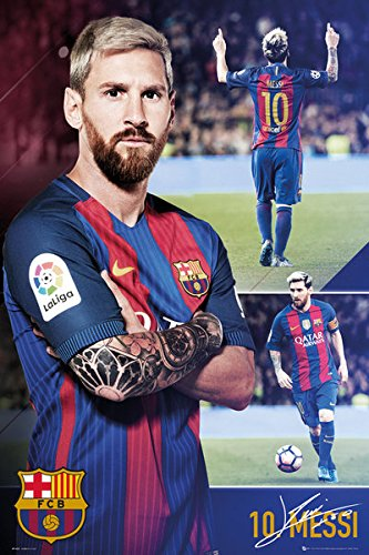 FC Barcelona - Soccer Poster / Print (Lionel Messi - Collage) (Size: 24