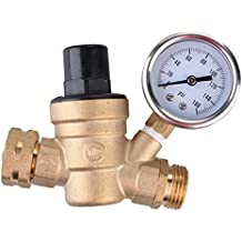 Water Pressure Regulator, Brass Lead-free Adjustable RV Water Pressure Reducer with Guage and Inlet Screened Filter, 160 PSI Gauge, By Kepooman (Gauge)