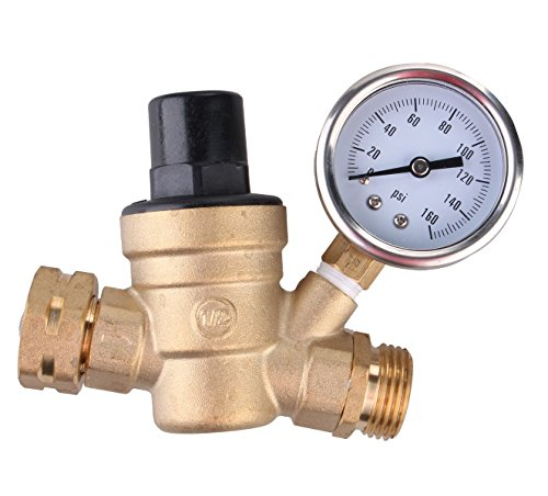 Washer Screened Hose (Water Pressure Regulator, Brass Lead-free Adjustable RV Water Pressure Reducer with Guage and Inlet Screened Filter, 160 PSI Gauge, By Kepooman (Gauge))