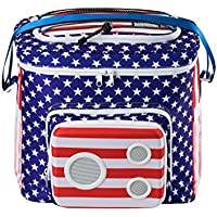THE #1 American Flag Cooler with Speakers & Subwoofer (Bluetooth, 15-Watt) for Parties/Festivals/Boat/Beach. Rechargeable Speaker Cooler, Works with iPhone & Android (2018 Edition)