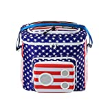 The #1 American Flag Cooler with Speakers & Subwoofer (Bluetooth, 15-Watt) for Parties/Festivals/Boat/Beach. Rechargeable Speaker Cooler, Works with iPhone & Android (2019 Edition)