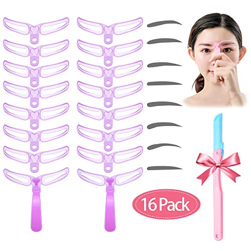 8 Styles Eyebrow Shapes DIY Eyebrow Stencil Grooming Stencil Kit Shaping Templates, Reusable Drawing Guide Card Brow Easy Makeup Tools (2 Sets, 1 Eyebrow Razor)